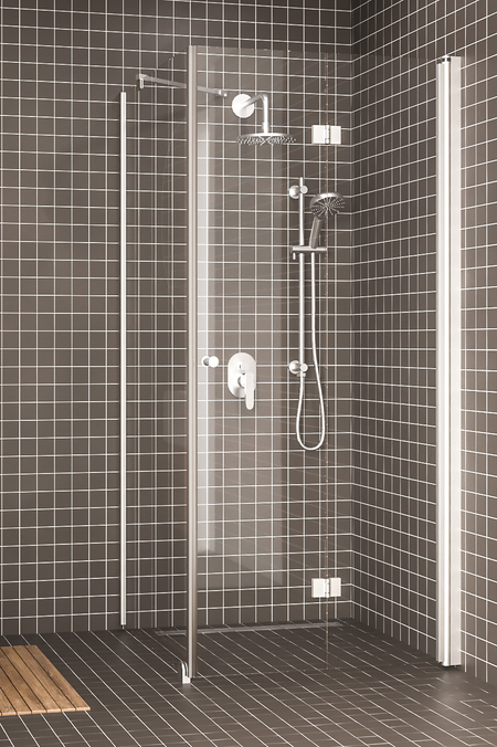 Shower enclosure with a fixed wall and hinged door Express 847 (811x813)