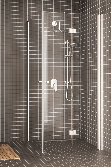 Shower enclosure with a hinged door and a folding door Express 849 (812x813)