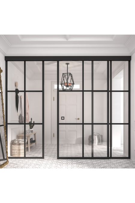 Sliding door with soft closing mechanism and 2 fixed walls Bläk 871 Paris