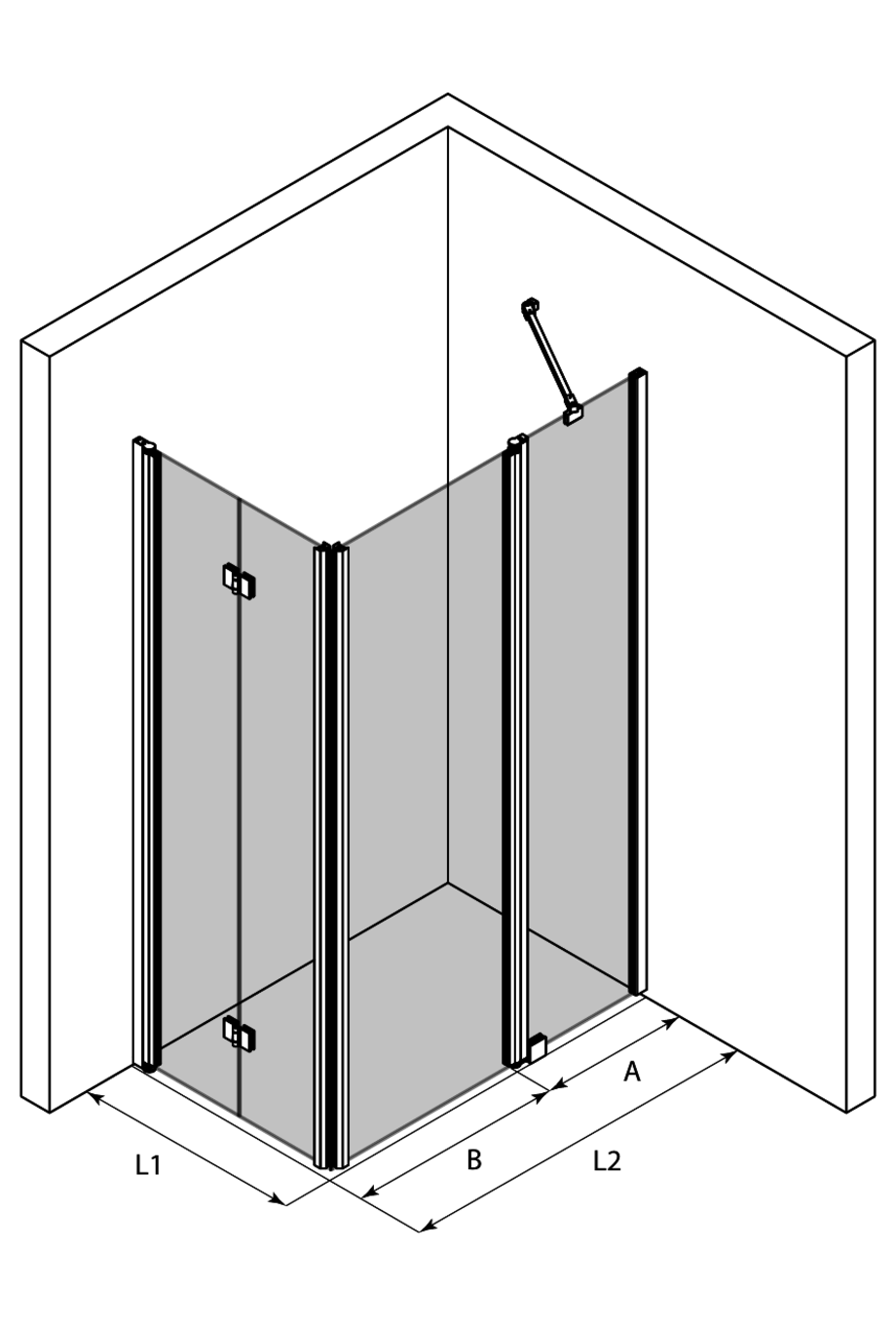 3d Shower enclosure with a folding door and a hinged door with a fixed part Infinia 260 (213x214)