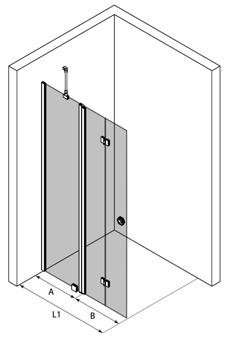3d Hinged shower screen with a fixed part Forma 305
