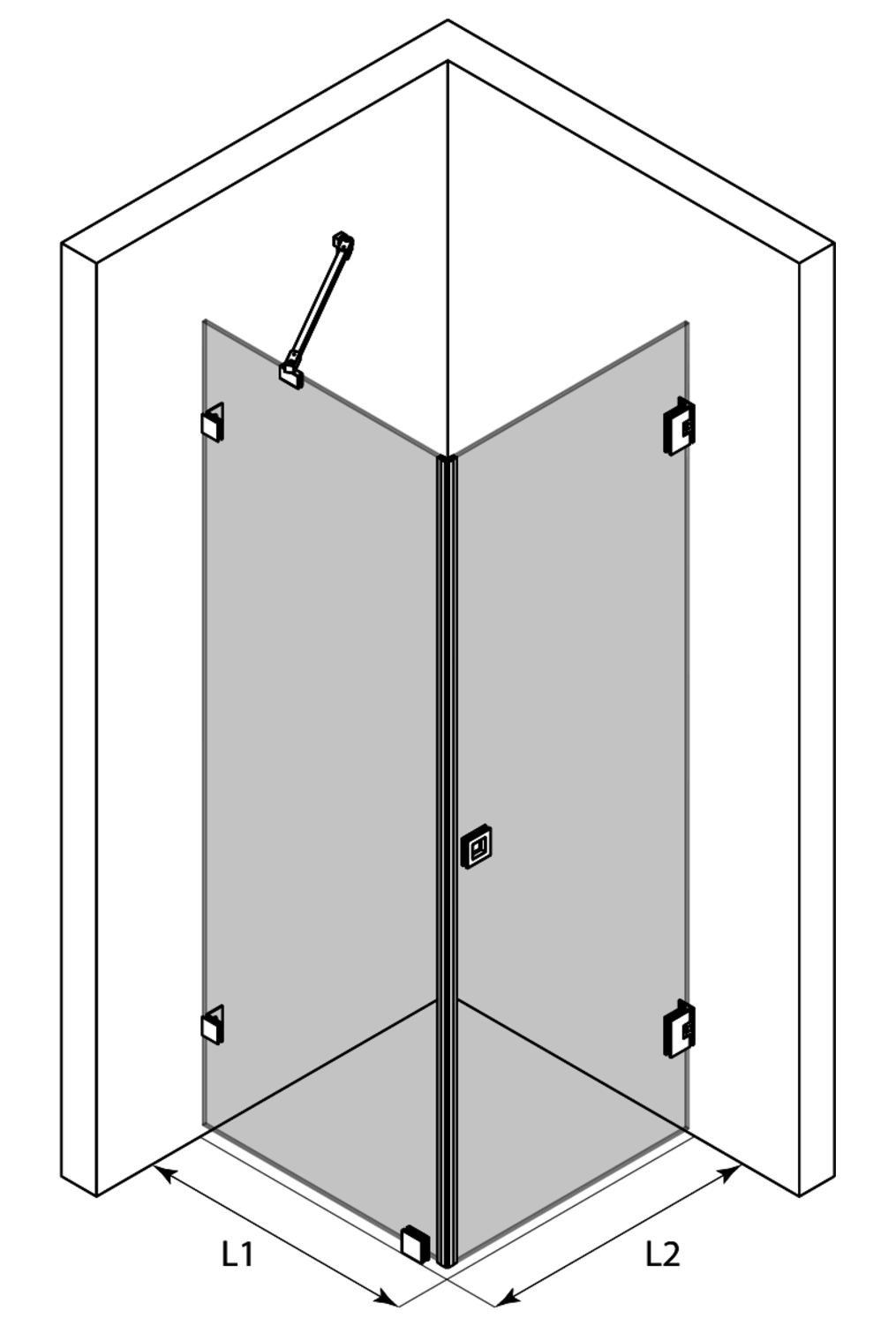 3d Shower enclosure with a fixed wall and hinged door Vetro 540 (511x512)