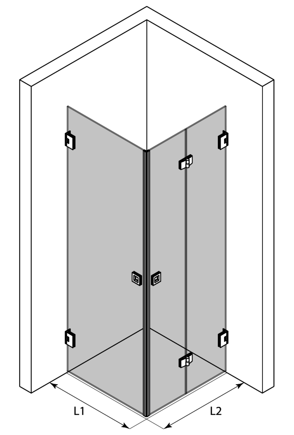 3d Shower enclosure with a hinged door and a folding door Vetro 544 (512x513)