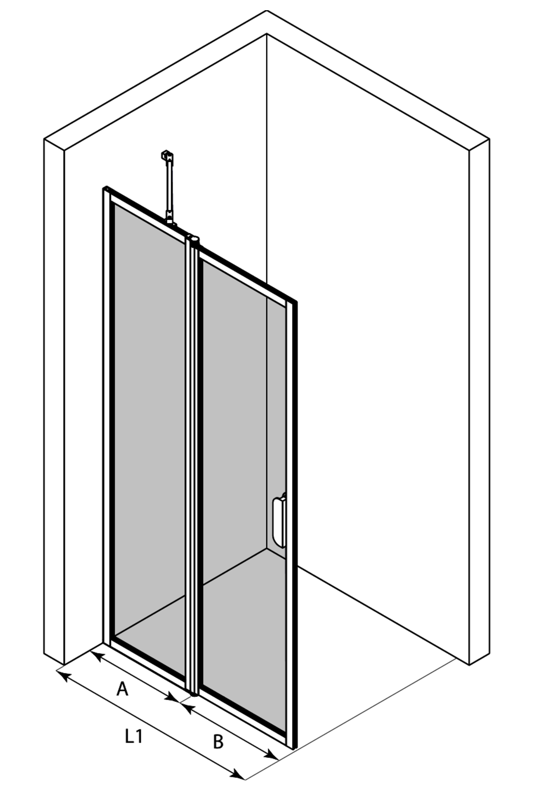 3d Hinged shower screen with a fixed part Bläk 733 New York
