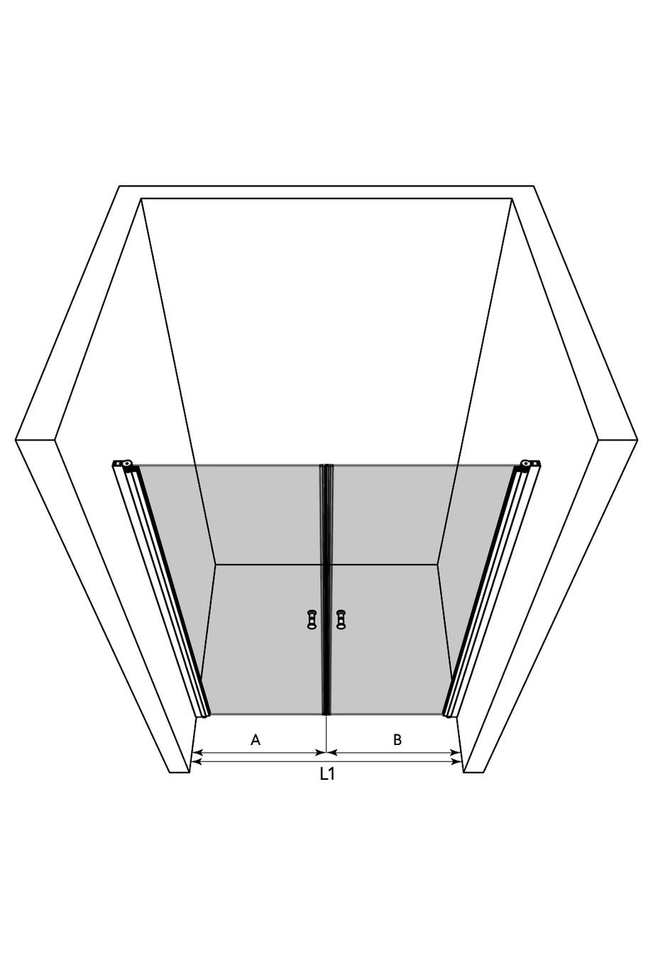 3d Alcove fitting with a hinged double door Express 843 (812+812)