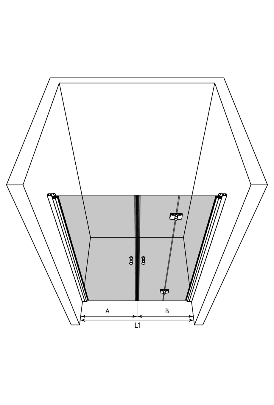 3d Alcove fitting with a hinged and a folding door Express 844 (812+813)
