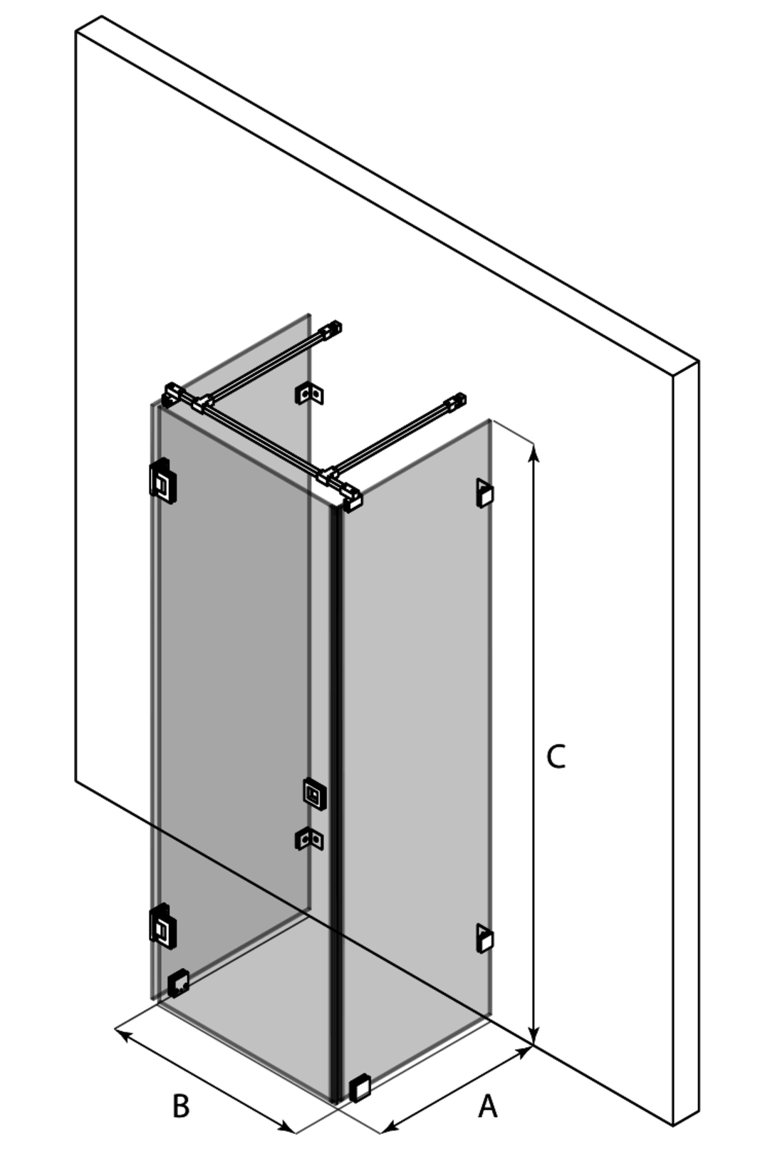 3d U-shaped enclosure with two fixed walls and a hinged door Vetro 560