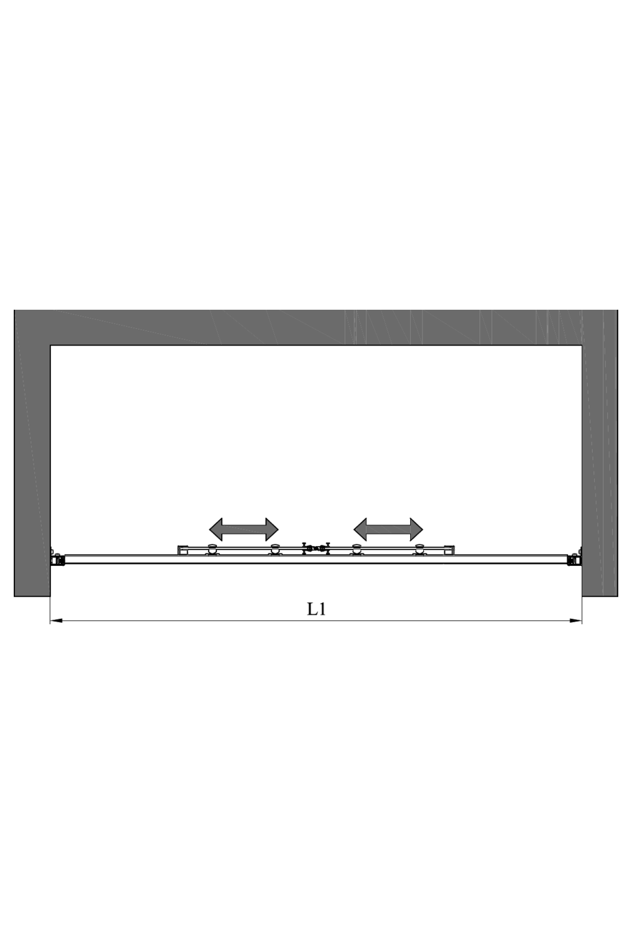 2d Alcove fixture with fixed walls and sliding double doors Glisse 454