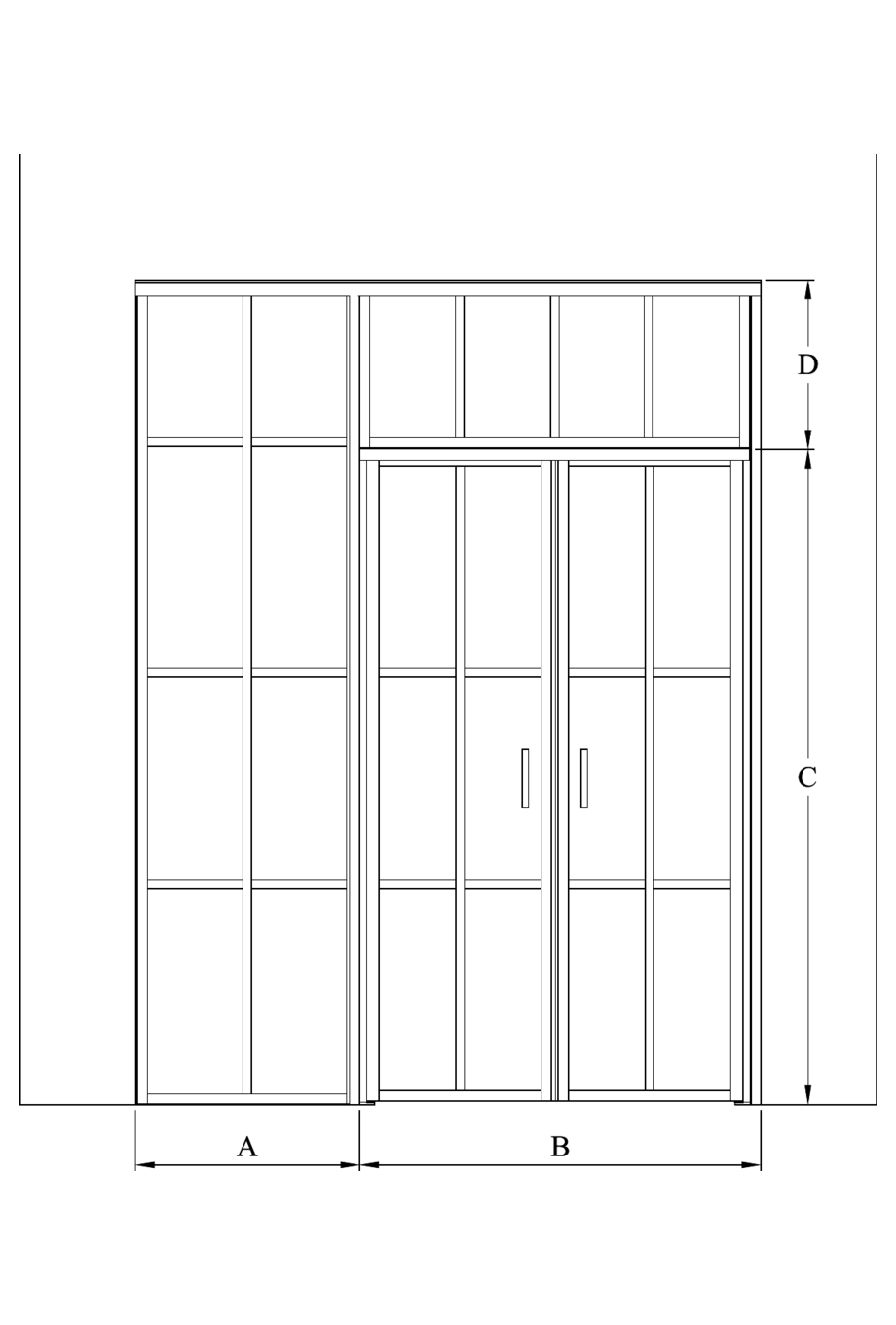 2d Glass wall with hinge side fixed panel, pair door and upper window Bläk 723 Paris
