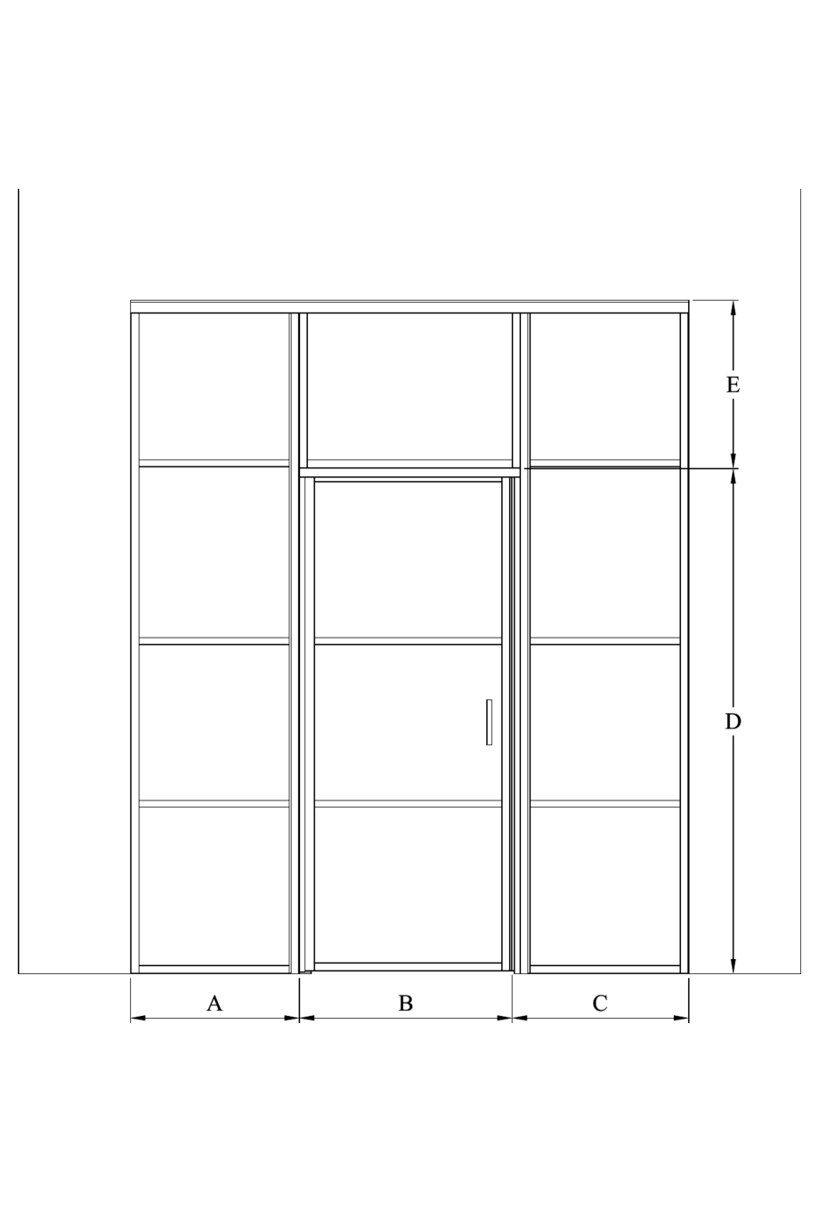 2d Glass wall with fixed panels on hinge and handle side and upper window Bläk 725 Tokyo