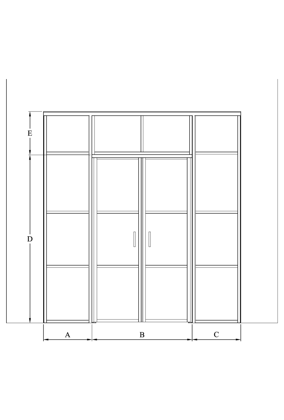 2d Glass wall with fixed panels on hinge and handle side, a double door and upper window Bläk 728 Tokyo