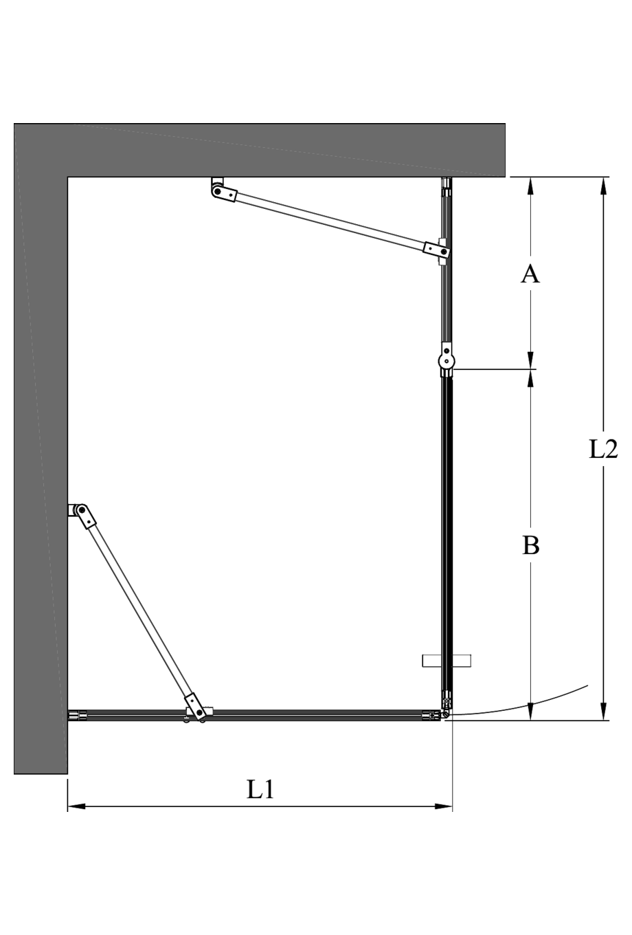 2d Shower enclosure with a fixed wall and a hinged door with a fixed part Bläk 761 Tokyo