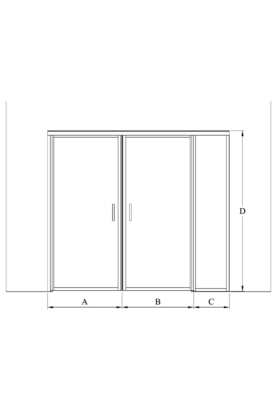 2d Glass wall with hinge side fixed panel and pair door Bläk 776 New York