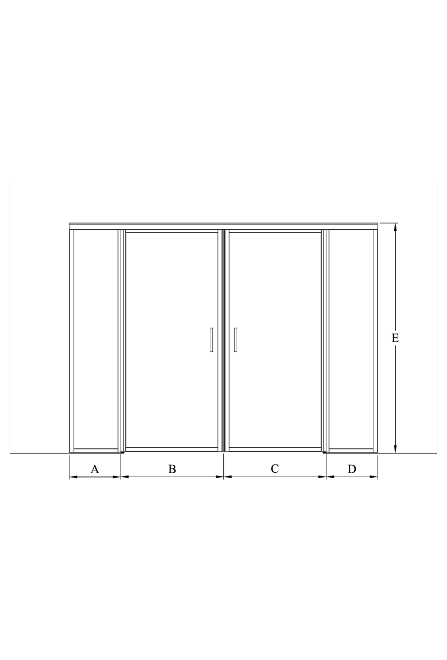 2d Glass wall with fixed panels on hinge and handle side and a double door Bläk 777 New York