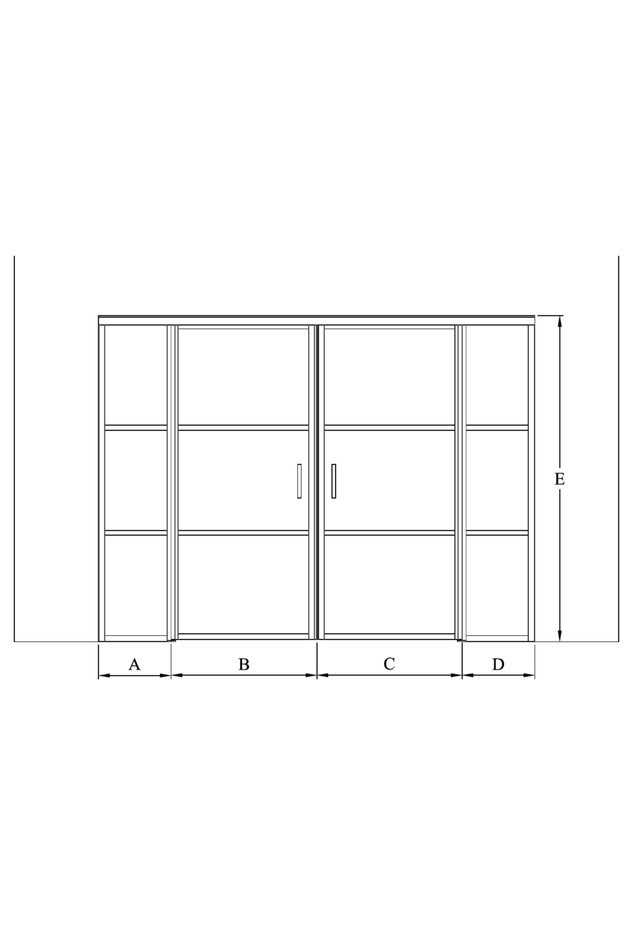2d Glass wall with fixed panels on hinge and handle side and a double door Bläk 782 Tokyo