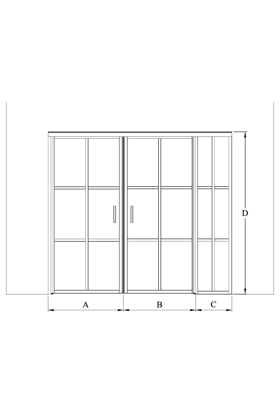 2d Glass wall with hinge side fixed panel and pair door Bläk 786 Paris