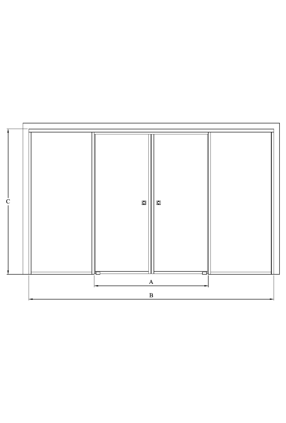 2d Double sliding doors with soft closing mechanism and 2 fixed walls Bläk 878 New York