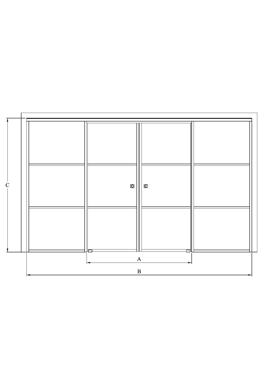 2d Double sliding doors with soft closing mechanism and 2 fixed walls Bläk 879 Tokyo