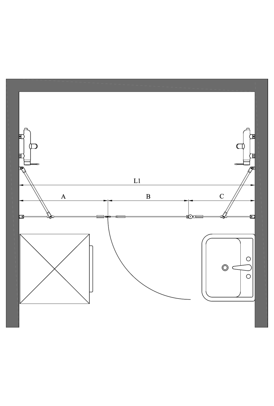 2d Alcove fitting with a fixed wall and hinged door which has a fixed part Fenic 341 (311+314)