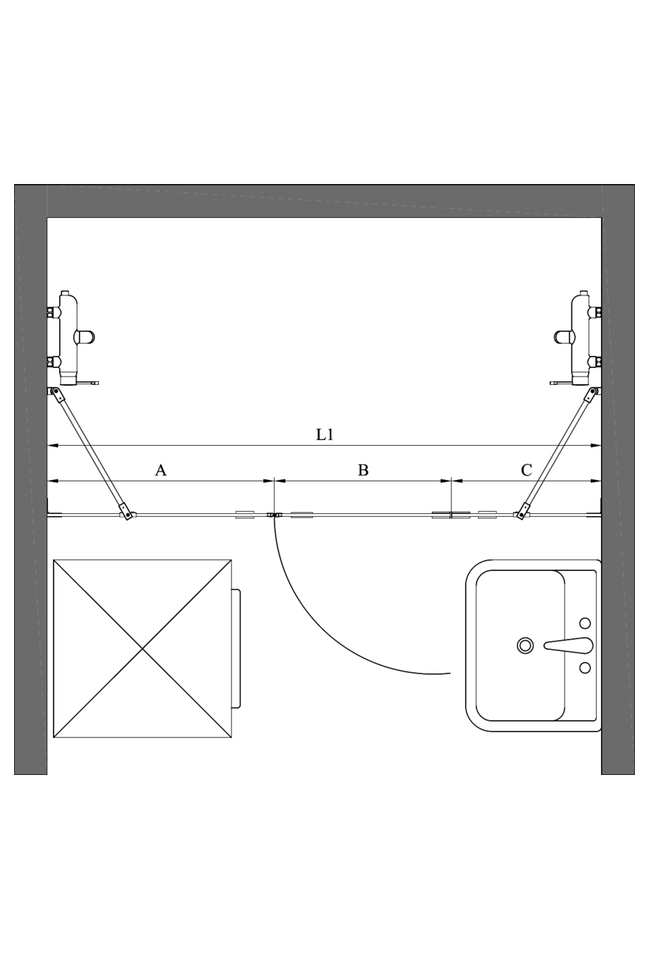 2d Alcove fitting with a fixed wall and hinged door which has a fixed part Vetro 533 (511+514)