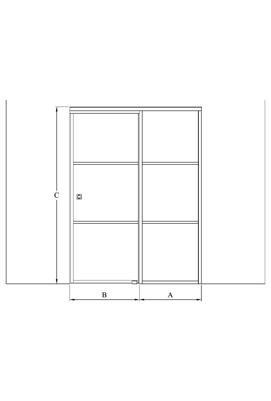 2d Sliding door with soft closing mechanism and fixed wall Bläk 864 Tokyo